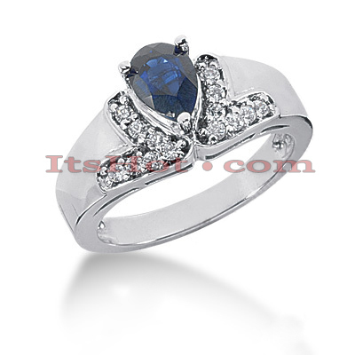 Diamond and Blue Sapphire Engagement Rings: 14K Gold Ring 0.21ctd 0.75cts Main Image