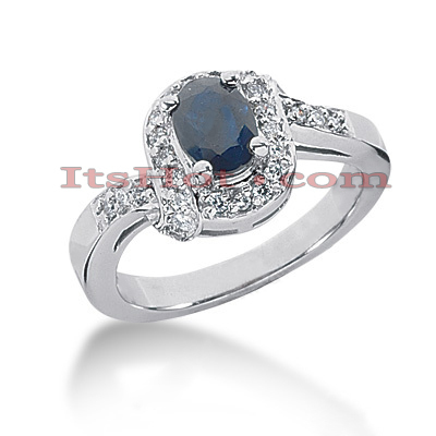 Diamond and Blue Sapphire Engagement Rings: 14K Gold Ring 0.26ctd 0.75cts Main Image