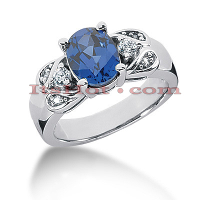 Diamond and Blue Sapphire Engagement Rings: 14K Gold Ring .18ctd 2cts Main Image