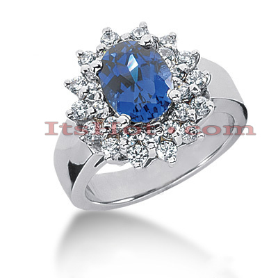 Diamond and Blue Sapphire Engagement Rings: 14K Gold Ring .77ctd 2cts Main Image