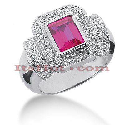 Diamond and Ruby Engagement Ring 14K 0.19ctd 1.50ctr Main Image