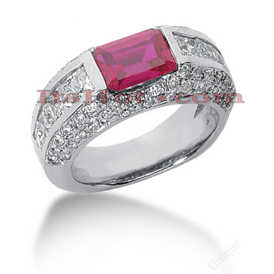 Diamond and Ruby Engagement Ring 14K 2.30ctd 1.50ctr Main Image