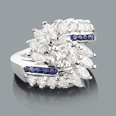 Unique Diamond and Sapphire Engagement Rings: 14K Gold Ring 2ct Main Image