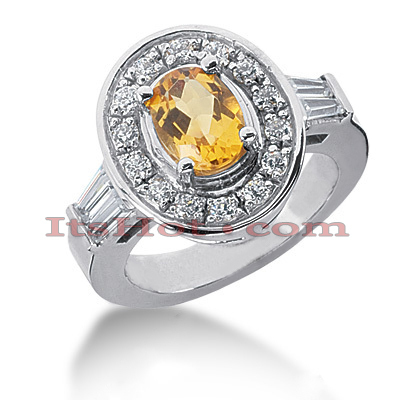 Diamond and Yellow Sapphire Engagement Ring 14K 0.91ctd 1.25cts Main Image