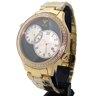 Diamond Aqua Master Watch 2 Time Zone Watch 2.45ct Diamond Aqua Master Watch 2 Time Zone Watch 2.45ct