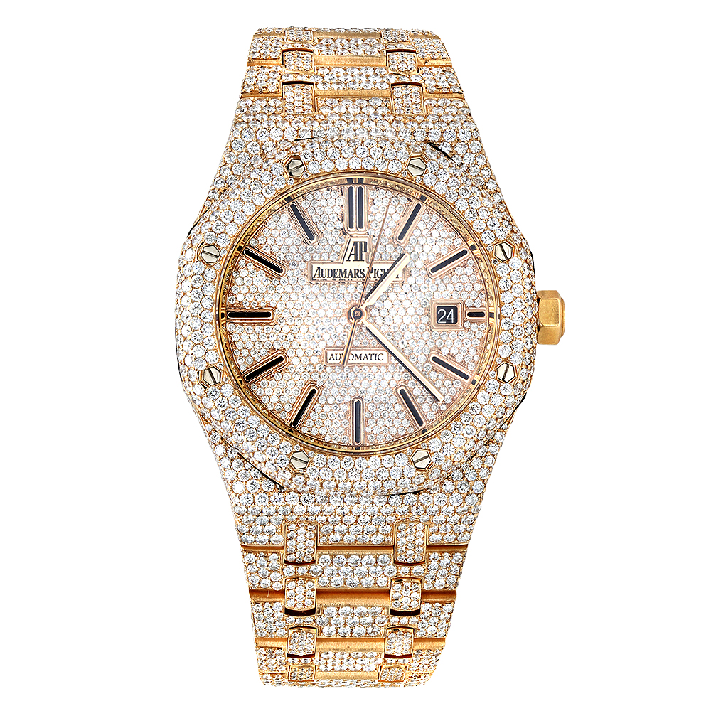 Diamond Audemars Piguet Royal Oak 41mm Full Pave Dial Bracelet Rose Gold Watch Main Image