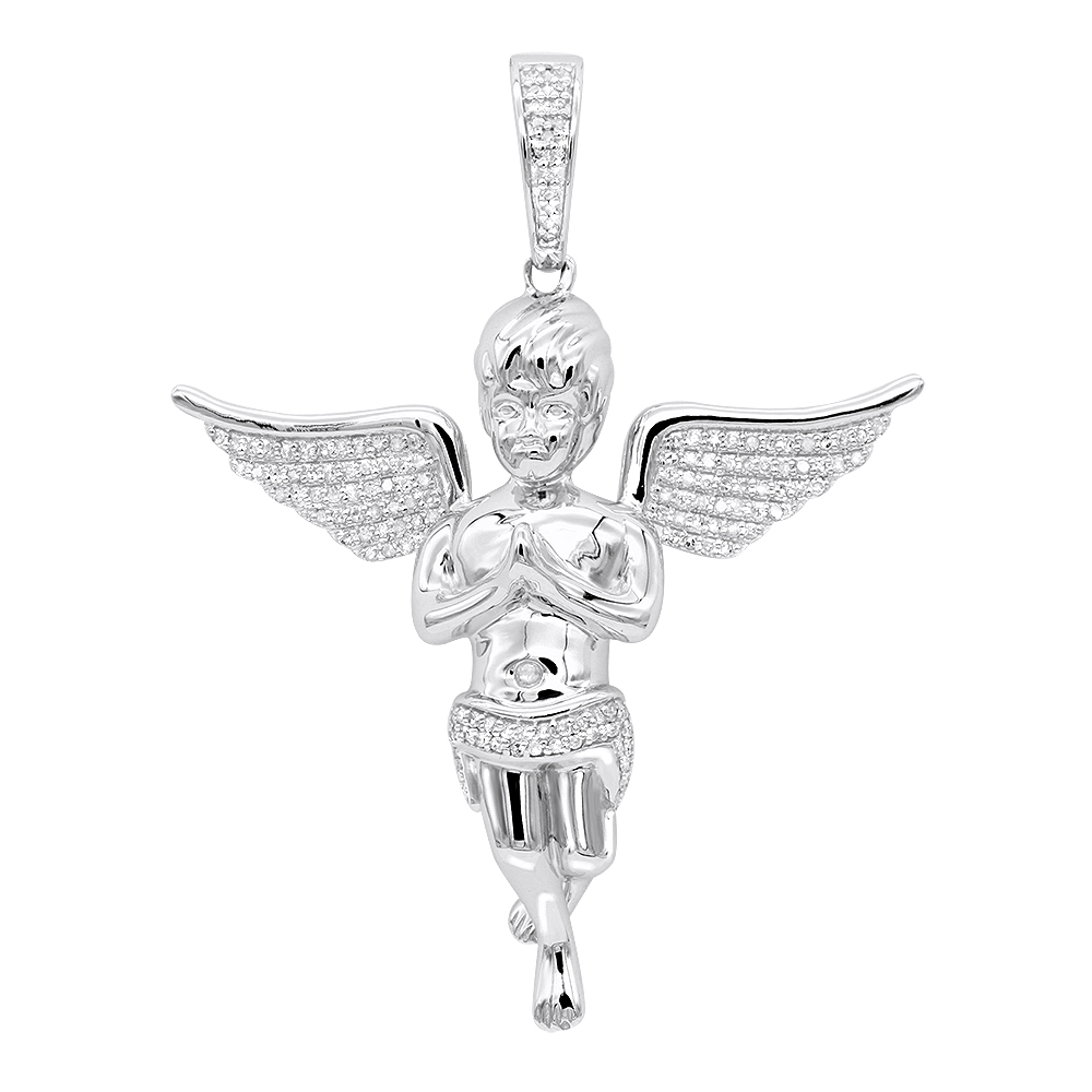 Diamond baby angel pendant for men in solid 10k gold by luxurman 05ct aloadofball Image collections