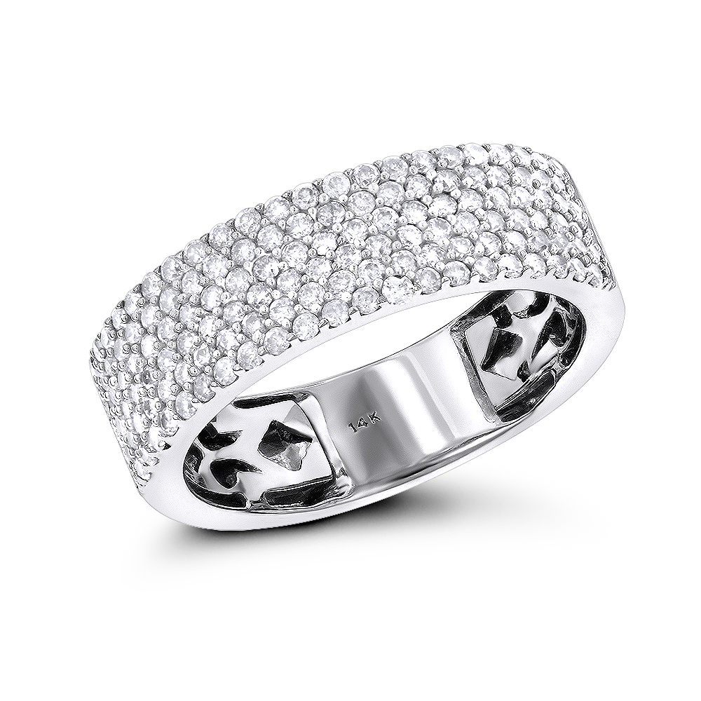 Diamond Bands 14K Gold Micro Pave Diamond Band 1 ct White Image