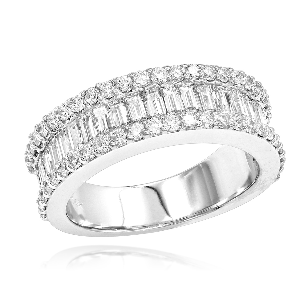 Diamond Bands 14K Gold Round Baguette Diamond Band 1.84 White Image