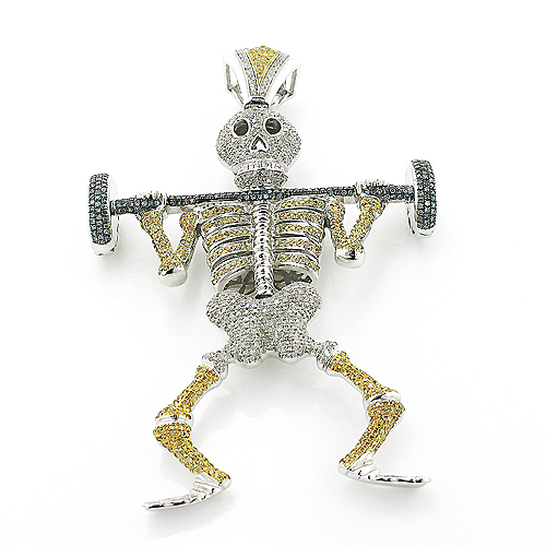 Diamond barbell weightlifting skeleton pendant gold hip hop jewelry aloadofball Image collections