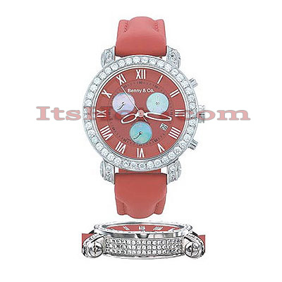 Diamond Benny and Co Watch Mens 4ct Red Main Image