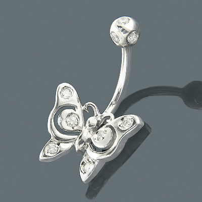 Diamond Body Jewelry 14K Diamond Butterfly Belly Ring Main Image