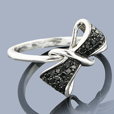 Diamond Bow Rings: Sterling Silver Black Diamond Ring Main Image