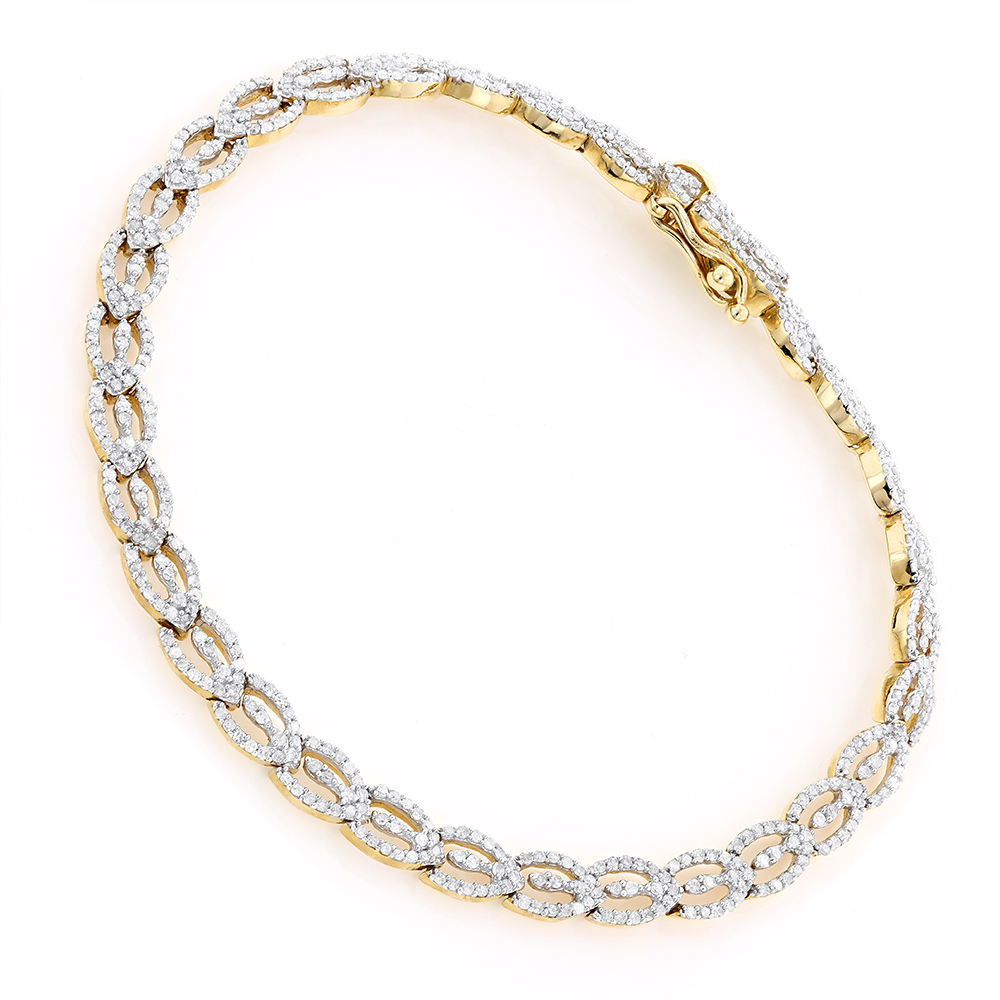 Diamond Bracelets 14K Gold Ladies Diamond Bracelet 1.88