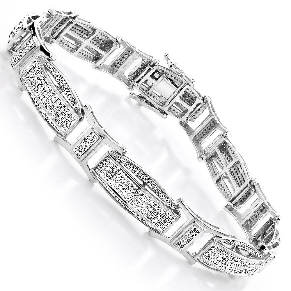 Diamond Bracelets Gold Mens Diamond Bracelet 2.41ct White Image