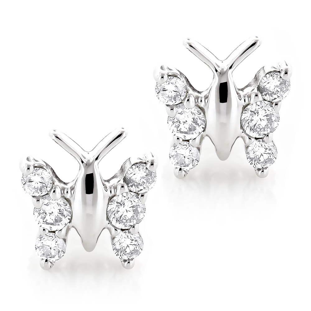 Ladies Diamond Butterfly Earrings Studs 1/2ct 14K Gold White Image