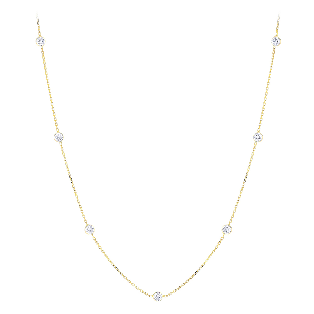 Diamond Chains: 14K Gold Diamonds By The Yard Necklace 0.7ct 16-20 inches Yellow Image