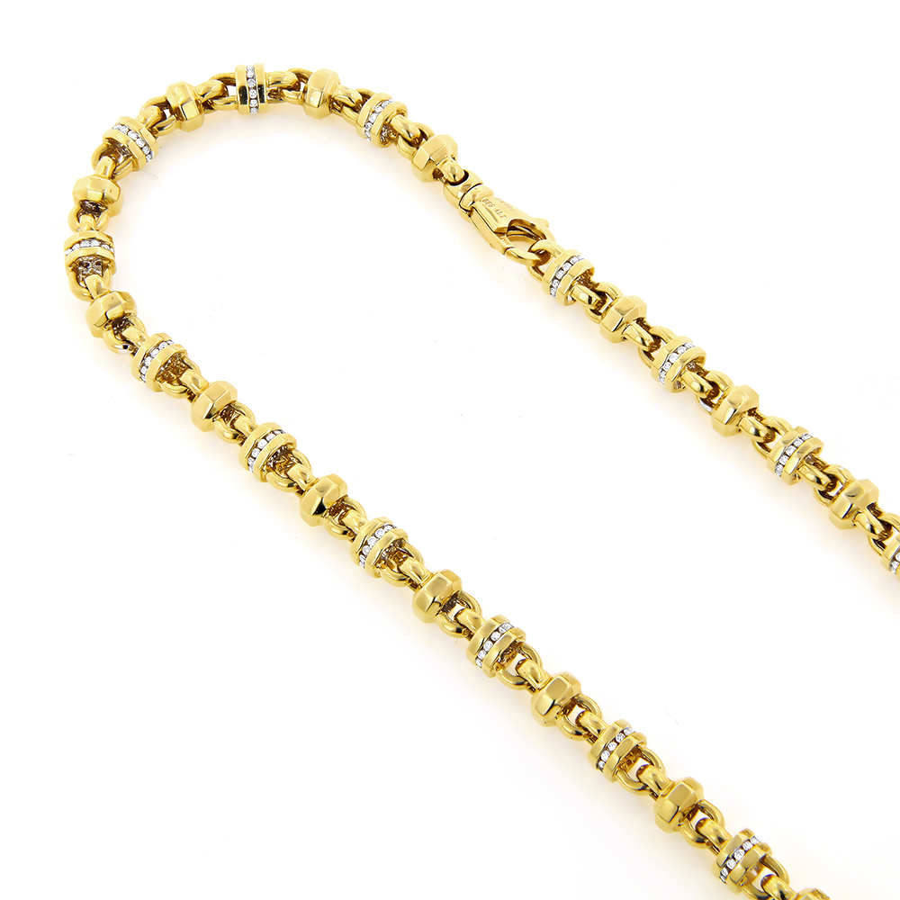 Diamond Chains: 14K Gold Diamond Necklace 4.15ct Yellow Image