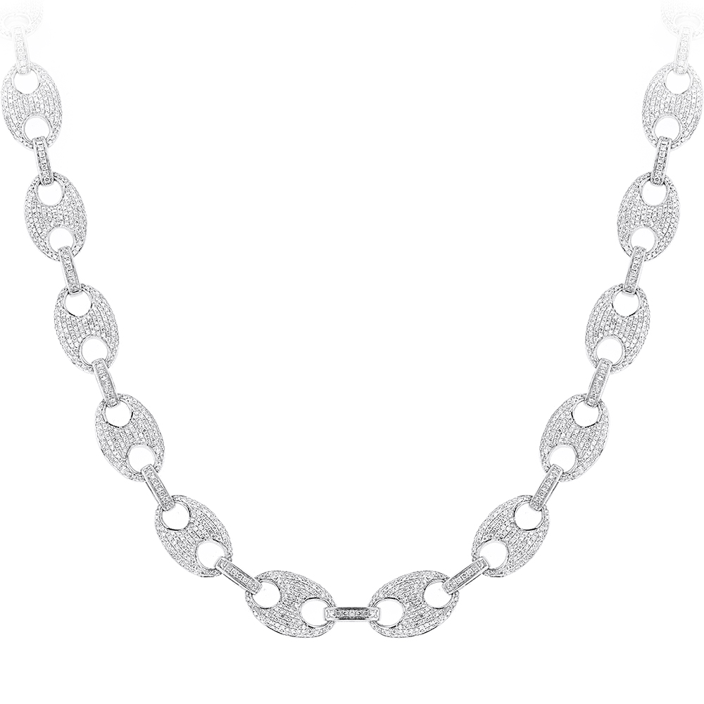 Diamond Chains 14K Gucci Link Diamond Necklace 24.52ct White Image