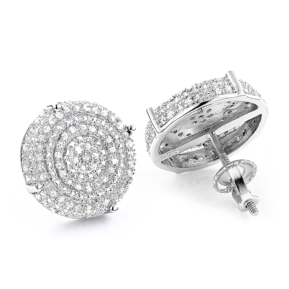 Pave Diamond Circle Earrings Studs 0.24ct Sterling Silver Main Image