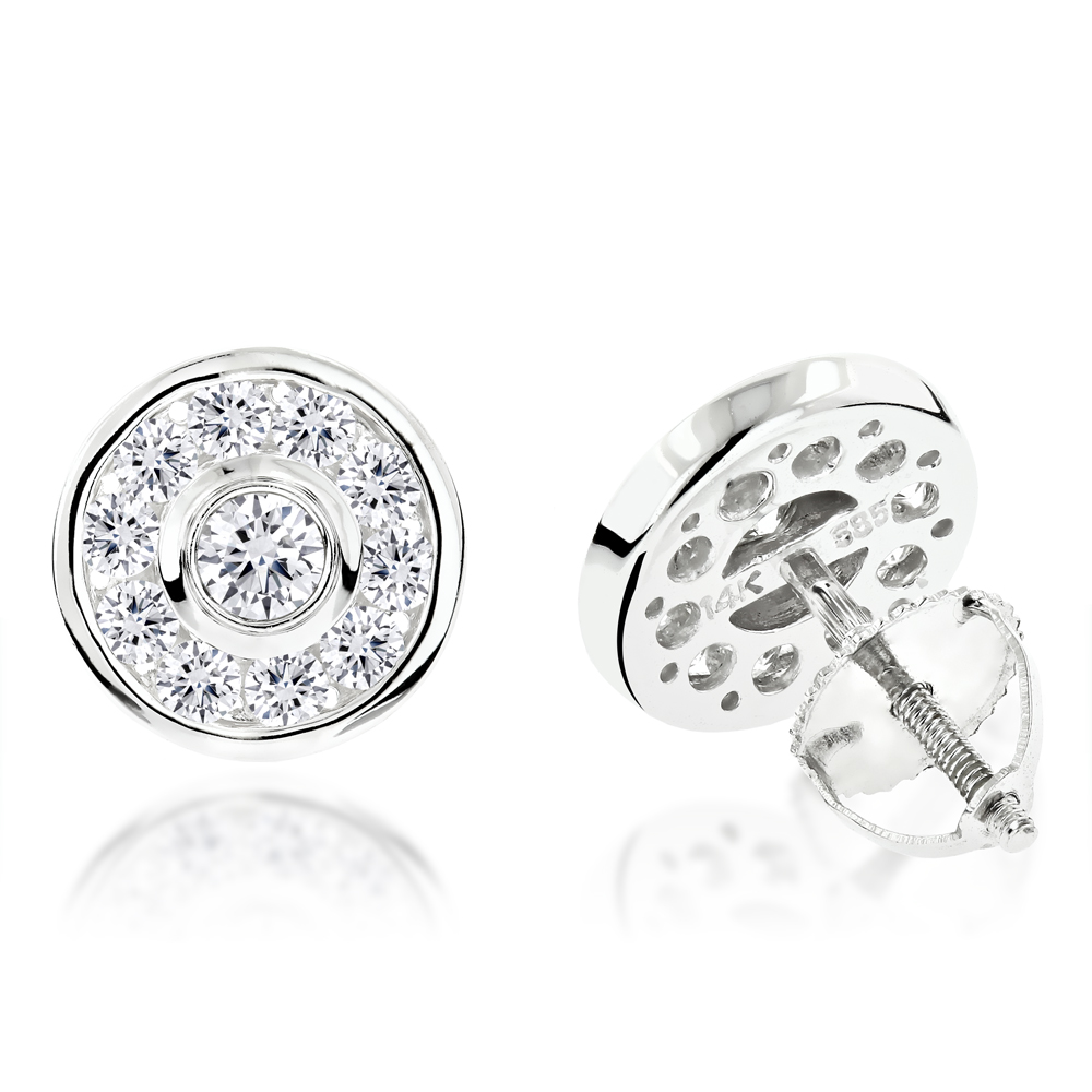 1 Carat Diamond Circle Earrings Studs 14K gold White Image