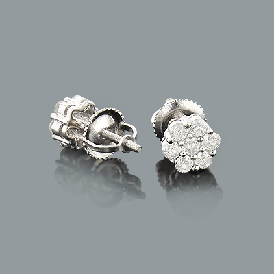 Diamond Cluster Earrings 0.6ct Sterling Silver Diamond Studs