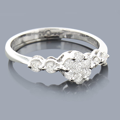 Diamond Cluster Engagement Ring 0.46ct 14K Main Image