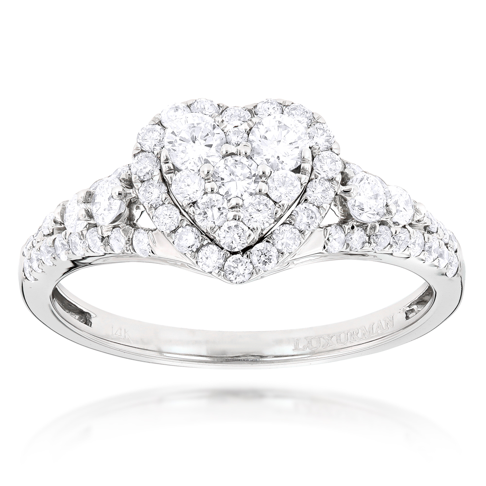 Diamond Cluster Heart Engagement Ring in 14k Gold 1ct G-H VS-SI Diamonds White Image