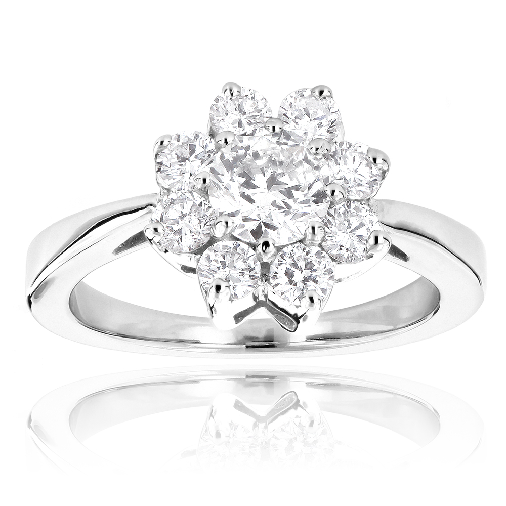 Ladies Diamond Cluster Rings: 14K Gold Diamond Flower Ring 1.2ct White Image