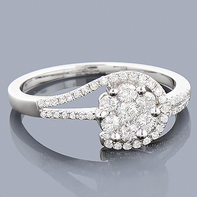 Cheap Engagement Rings 14K Gold Ladies Diamond Cluster Ring 0.61ct Main Image