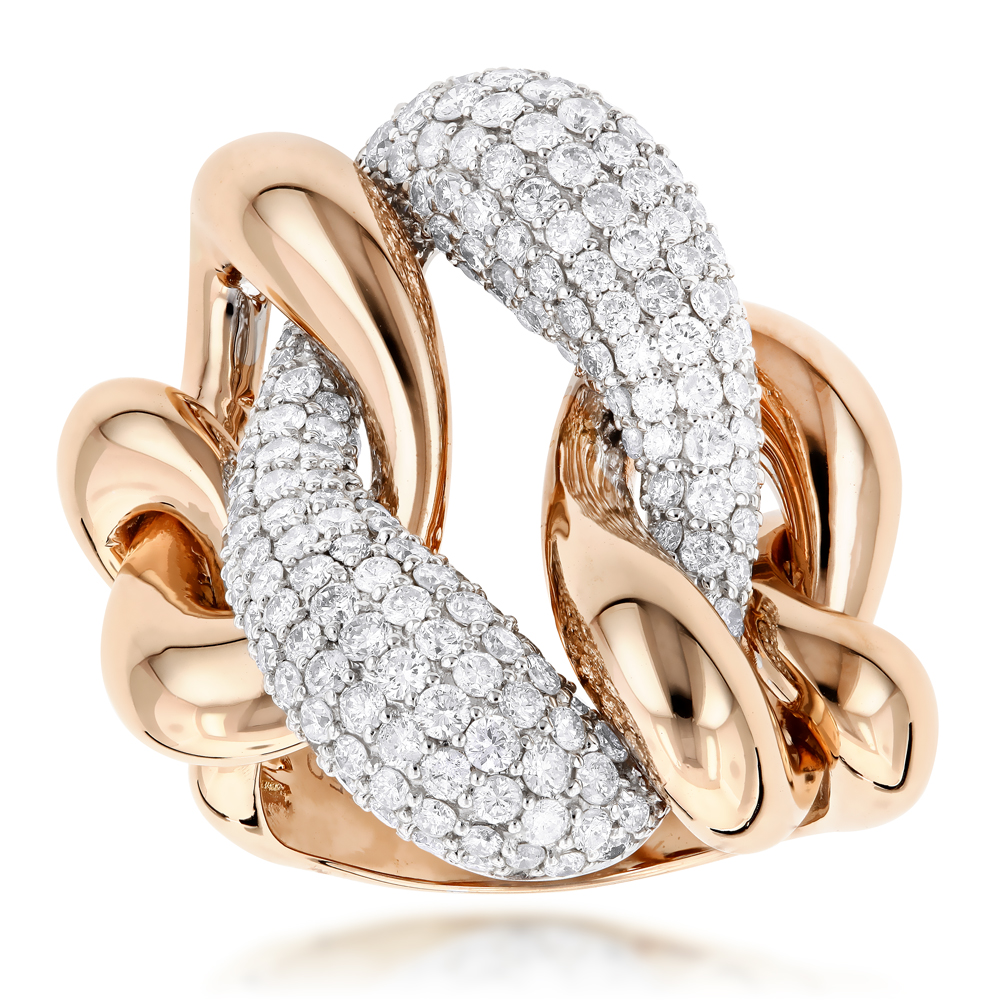 Diamond Cocktail Rings Two Tone Designer Diamond Ring 56ct 18K Gold
