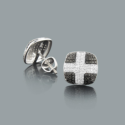 Diamond Cross Earrings 0.18ct Sterling Silver