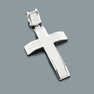 Diamond Cross Pendant Sterling Silver 1.24ct Main Image