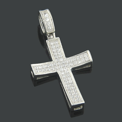Real 10k Gold Small Diamond Cross Pendant Curved Shape Genuine Diamonds Main Image