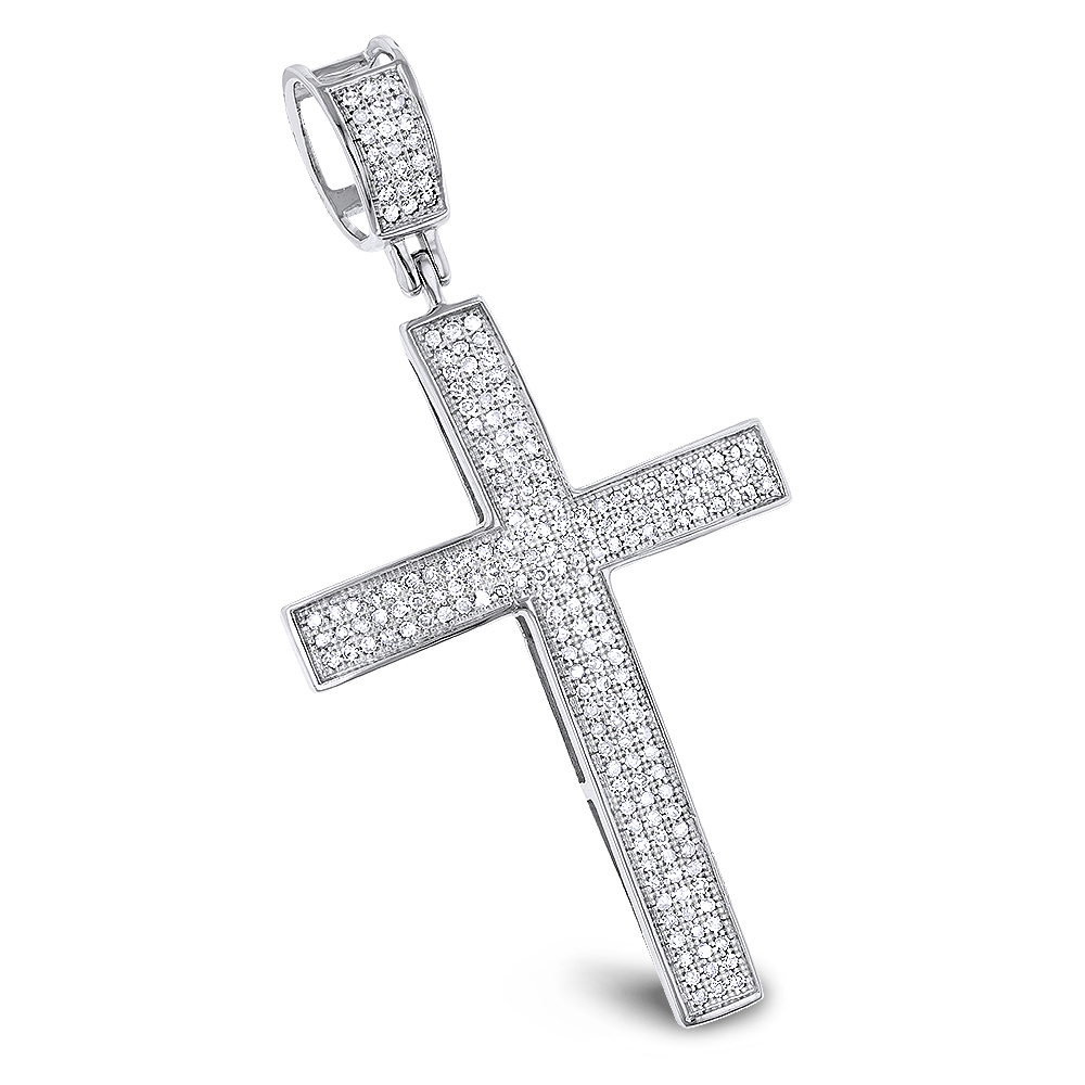 14k Solid White Gold 0.85Ct Created Diamond Flower Design Cross Charm Pendant