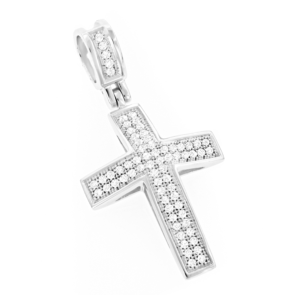 Diamond Crosses 14K Small Diamond Cross Necklace .30ct White Image