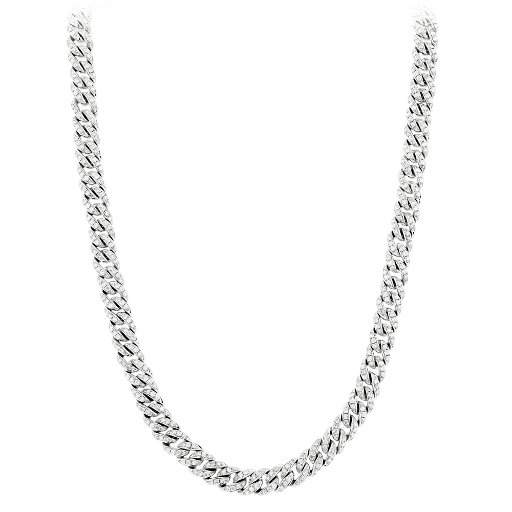 Mens White Gold Cuban Link Chain