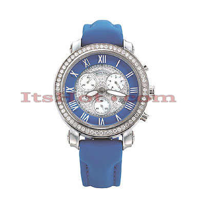 Diamond Dial Benny and Company Watch 2.6ct Mens Blue