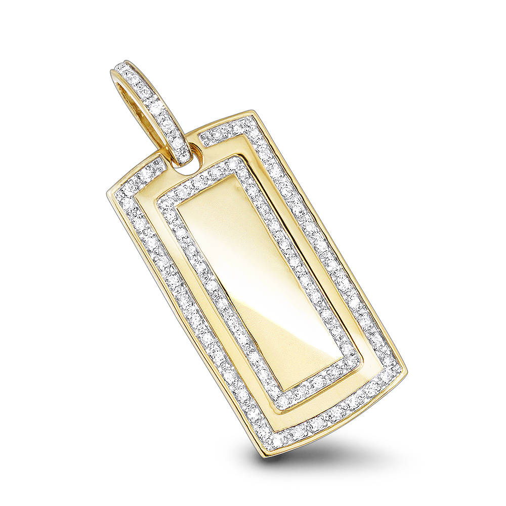 Solid 14k Gold Real Diamond Dog Tag Military Pendant With Diamonds 1ct Yellow Image
