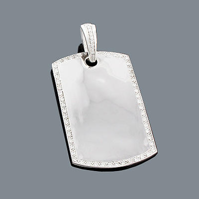 Diamond Dog Tag Pendant in Sterling Silver 0.48ct