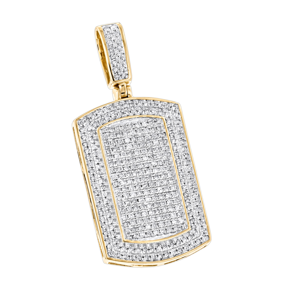 Diamond Dog Tags 10K Gold Iced Out Small Dog Tag Pendant by Luxurman Yellow Image
