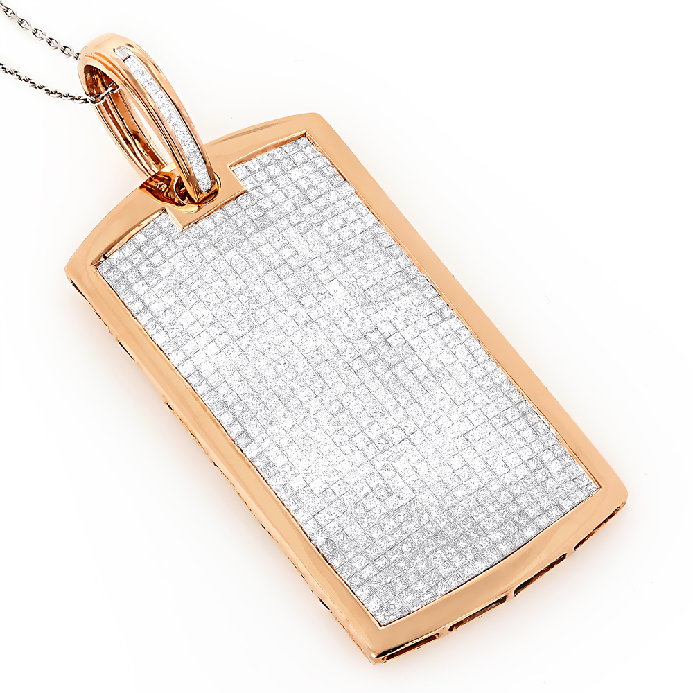 Diamond Dog Tags 14K Gold Iced Out Dog Tag Pendant 11.25ct Rose Image