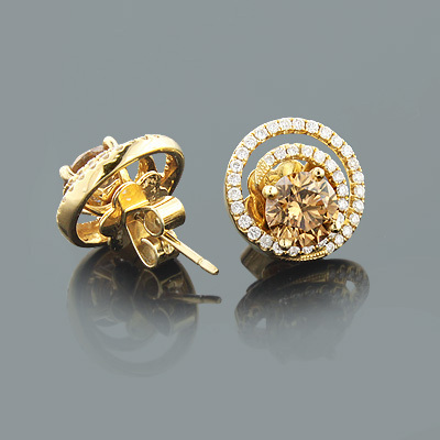 Diamond Earring Jackets with Large Cognac Diamonds 2.75ct 18K Gold