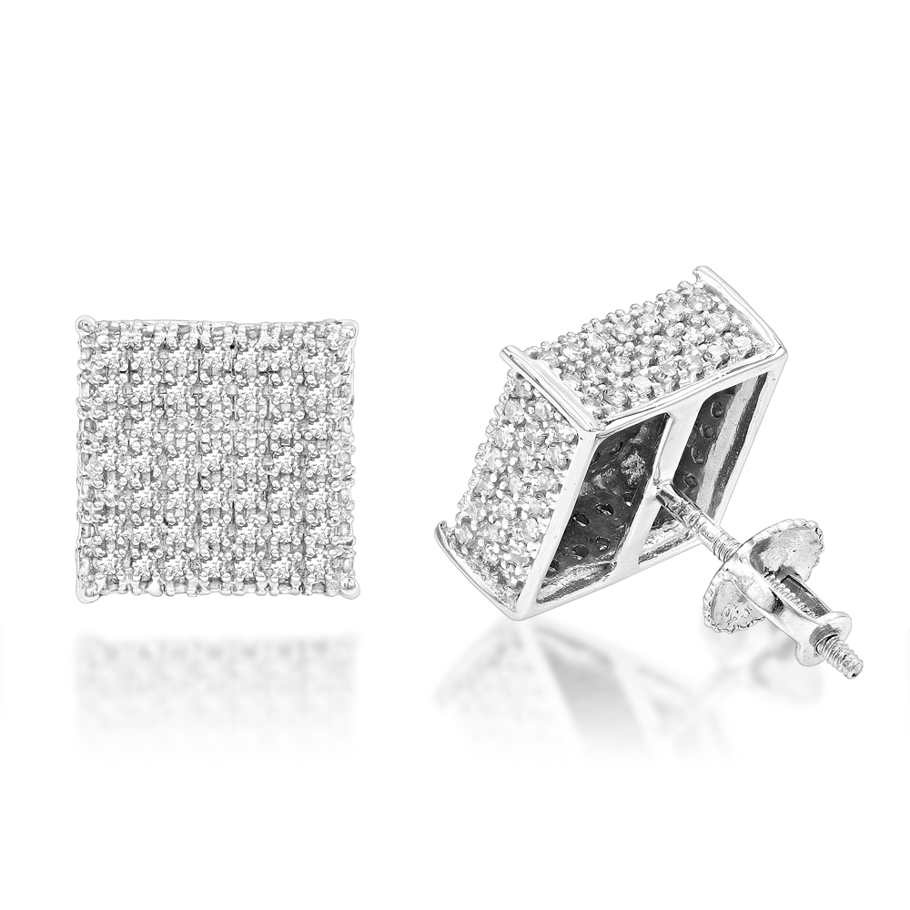 Diamond Earrings 10K Gold Diamond Stud Earrings 1.15ct White Image