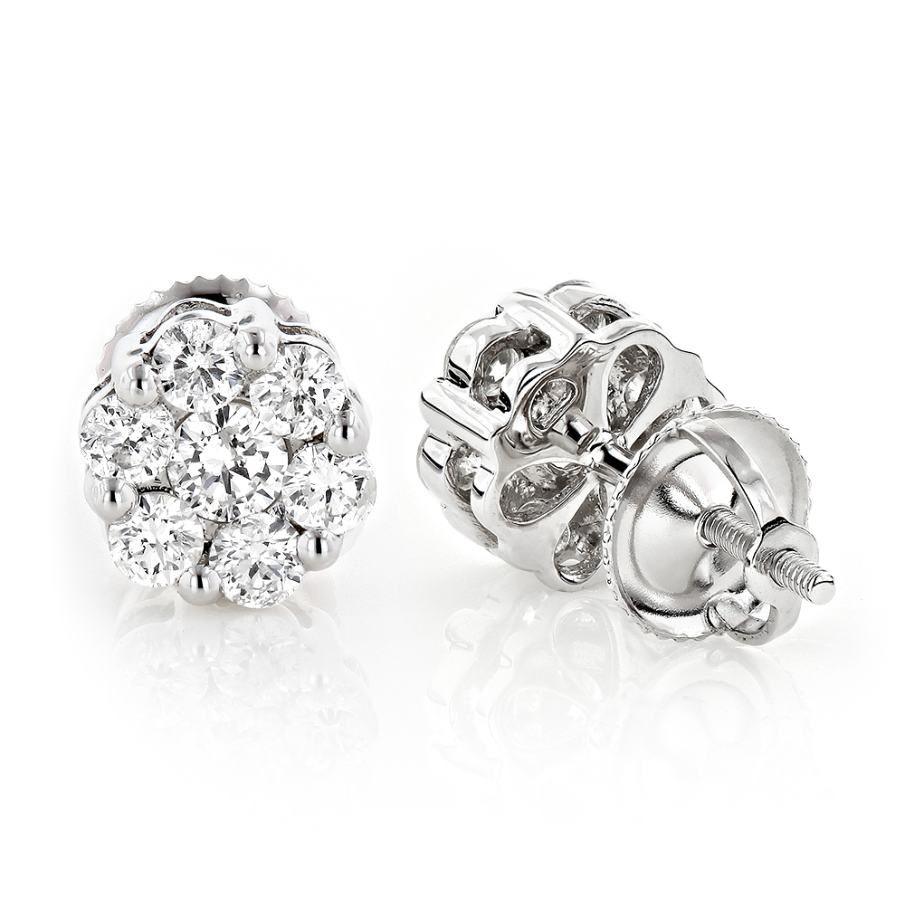 set prong zoom prin loading stud princess earrings cut diamond tw dia ct