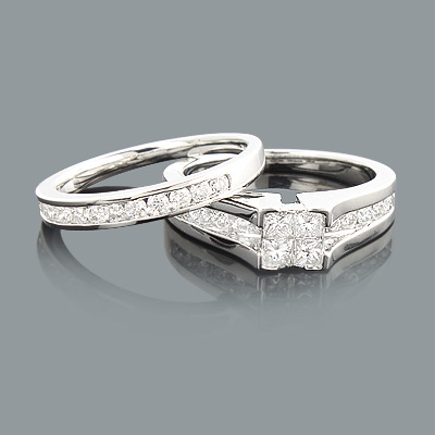 Diamond Engagement Ring Set 1.07ct 14K Princess Cut Round Main Image