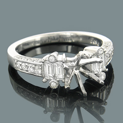 Diamond Engagement Ring Settings 18K Gold Setting .99ct Main Image