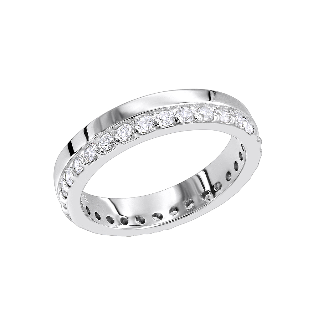 Thin Diamond Eternity Bands 14K Gold Eternity Ring 0.57ct White Image