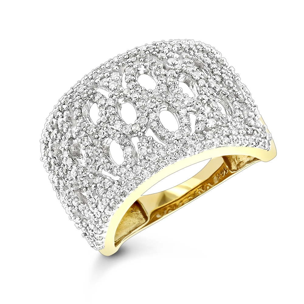 Diamond Fashion Rings: 14K Gold Diamond Ring For Women 1ct Yellow Image