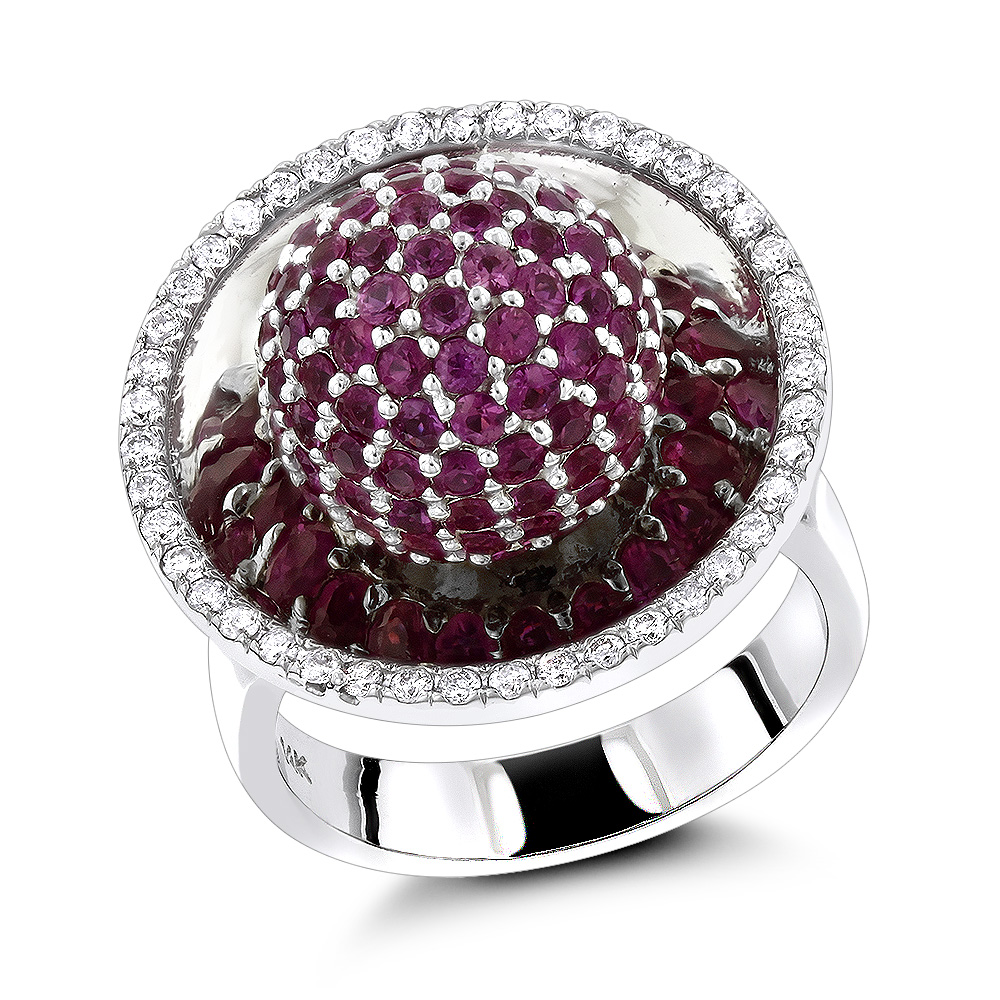 14k Gold Diamond Fashion Rings Pink Sapphire Cocktail Ring for Women 3.25 White Image